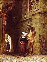 手描き-キャンバスの油絵 - Leading the 馬 from Stable Frederick Arthur Bridgman 動物 芸術 作品 洋画 -サイズ09