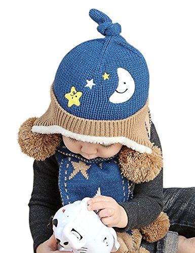 (アバラナサ)Abaranasaベビーニット帽子( フリーサイズ:46-50cm)ハットとても保温と可愛い 男の子 女の子兼用 冬キャップ (ダークブルー)