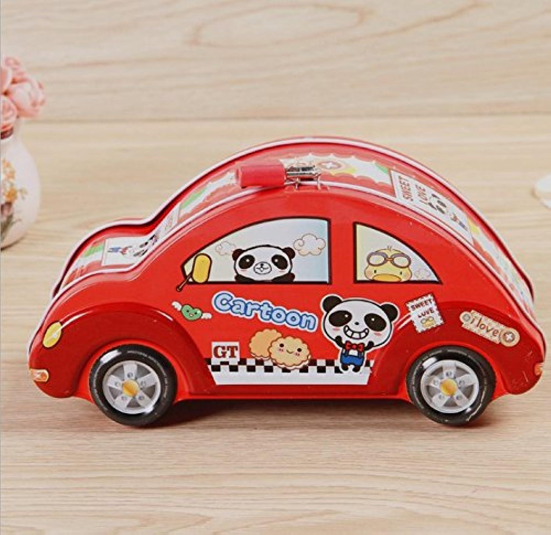 マネー バンク 漫画車のピギーバンククリエイティブティンストレージボックス(赤)