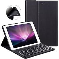 iPad 9.7 2017/2018 キーボード ケース GOOJODOQ iPad Air/Air2 通用カバー Bluetooth 高級品質 レザー スタンド機能 指紋防止 全面保護カバー(ブラック)