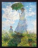 DBR モネ 日傘をさす女 (40cm×50cm) GardenArtPanel ジクレー プリント 複製 額 ファブリック インテリア アートパネル 日傘の女性 (400×500)
