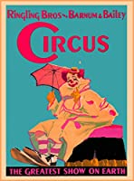 Ringling Bros Barnum & Bailey Circus Clown and傘The Greatest Show on Earth United States Vintage circus旅行壁装飾広告アートポスター印刷。メジャー10x 13.5インチ