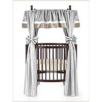 Baby Doll Bedding Crocodile Round Crib Curtain Set, Silver, 12 Piece by BabyDoll Bedding