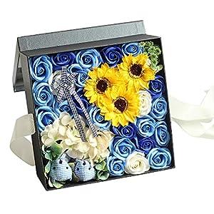 Yobansa ソープフラワー 創意方形ギフトボックス 造花 石鹸花 枯れない 誕生日 母の日 記念日 先生の日 バレンタインデー 昇進 転居など最適としてのプレゼント メッセージカード付き(ブルー、ひまわり)