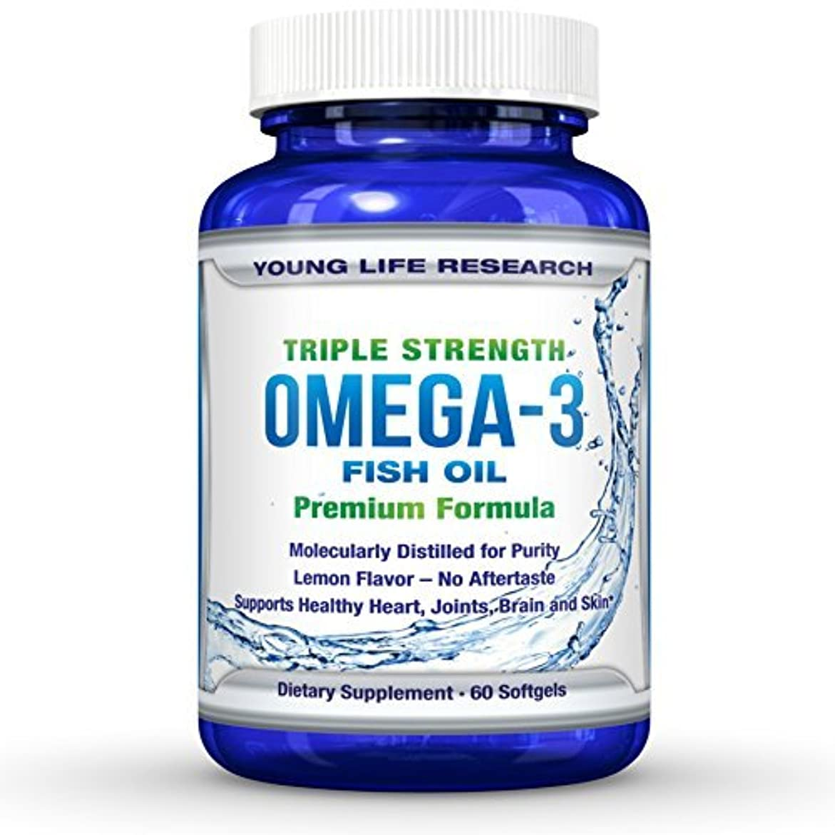 下に向けます死怠惰FISH OIL OMEGA 3 - Triple Strength Ultra-Purified Professional Grade - By Young Life Research by Young Life Research...