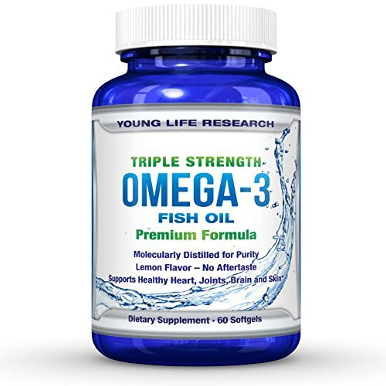 個人的にバンガロースキーFISH OIL OMEGA 3 - Triple Strength Ultra-Purified Professional Grade - By Young Life Research by Young Life Research...