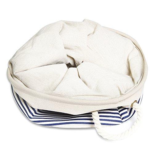 ランドリー ボックス バケット綿麻製 ストレージケース 折り畳み式 マルチ収納ボックス- ストライプ …
