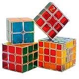 HJXDJP -- 綺麗な 透明なステッカー マジックキューブ 4種類セット 立体パズル スムーズ回転キューブ 競技用パズルキューブ1X3X3 2X2X2 3X3X3 4X4X4 のキューブバンドル販売パッケージ