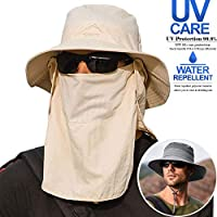 Removable Unisex Fishing Hat Three-Piece Suit【Hat& Face Mask& Neck Cover】 Outdoor Waterproof Wide Brim Boonie Hat, UV Protection Sun Hat, Bucket Hat