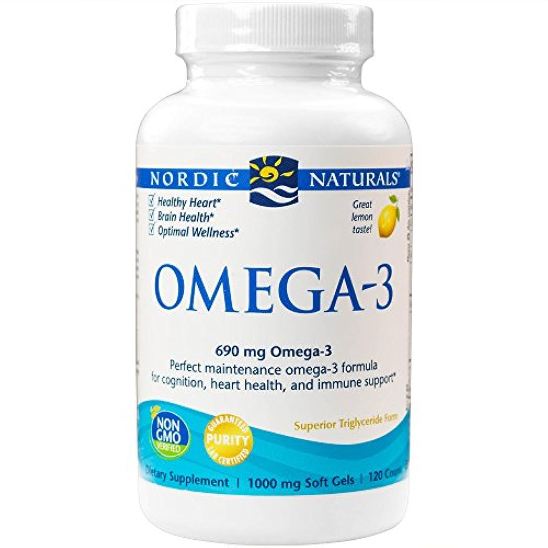 悲しむ先噴出する海外直送品Omega-3, 1000 mg, Lemon 120 softgels by Nordic Naturals