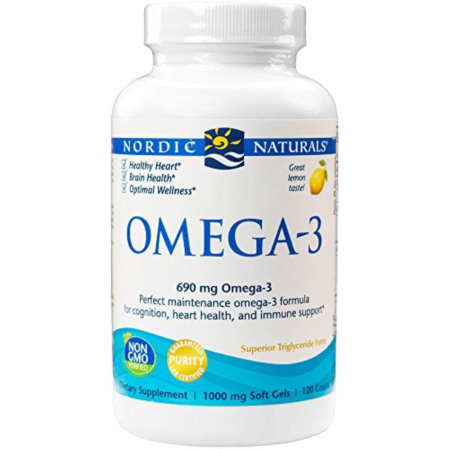 邪魔する些細古代海外直送品Omega-3, 1000 mg, Lemon 120 softgels by Nordic Naturals