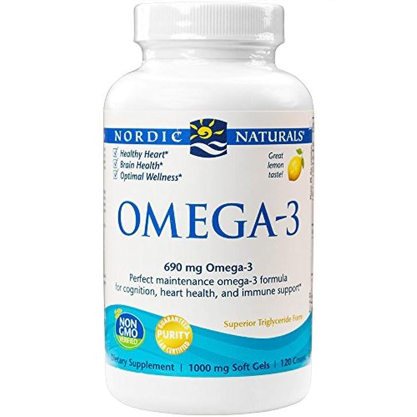 海外直送品Omega-3, 1000 mg, Lemon 120 softgels by Nordic Naturals