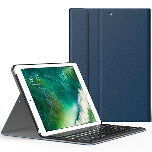 iPad 9.7 2017 ケース - ATiC Apple New iPad 9.7 2017用 Bluetoothキーボード型フォリオケース INDIGO (iPad Pro 9.7に適応ない)
