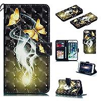WVYMX iPhone 6S Phone ケース, Premium PU Leather 耐衝撃 合皮レザー 超薄型 カード収納 ワイヤレス充電対応 マグネット スタンド 機能 人気 手帳型ケース for iPhone 6/6S 4.7 Inch Gold Butterfly