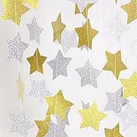 スター 星 ガーランド モール 2本セット ゴールドとシルバー お誕生日 パーティー キラキラ飾り付け 約3m