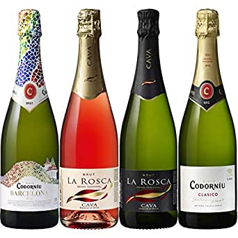 本格シャンパン製法でつくられるスペイン産辛口スパークリングワイン「カヴァ」4本セット