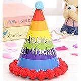 HuaQingPiJu-JP 誕生日パーティーの装飾カラフルなアルファベットのヘアボールCap_Colorful
