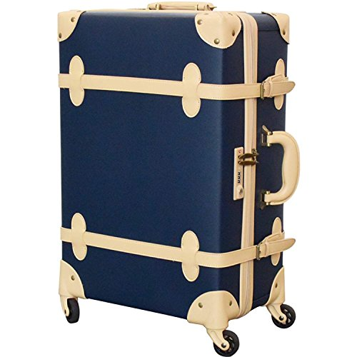 FIELDOOR ヴィンテージ風 トラベルキャリーケース スーツケース Mサイズ 容量(約)50L (ブルー) 【ファスナータイプ】