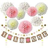 ピンクゴールドとクリーム誕生日パーティー装飾セットPompom Polka Dot