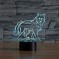 WZYMNYD 寝室の雰囲気usbオオカミ形状3d led子供テーブルランプ7カラフルな動物照明器具赤ちゃん睡眠夜間照明の装飾ギフト