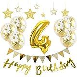 【Big Hashi 】お子様誕生日パーティー HAPPY BIRTHDAY アルミニウム 数字(4)バルーンゴールド 誕生日 飾り付け セット (js-j04)