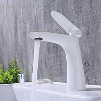 バスルームの蛇口 ホテルの家庭用風呂の白い焼き付け単体の蛇口取っ手の冷熱銅洗いの蛇口
