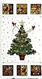 SE-3785 カーディナルとクリスマスツリー 金ラメ/クリスマスタペストリーパネル/ホワイト 59.5*110 未完成品 コットンプリント生地