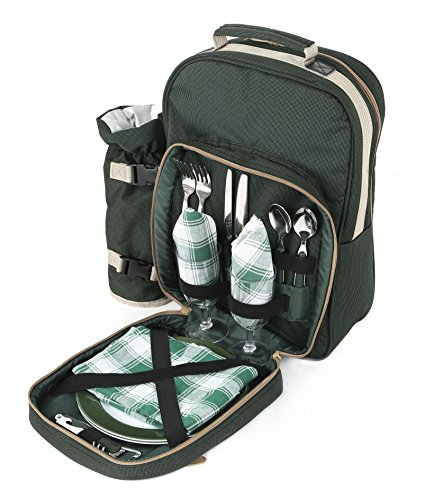 PICNIC BACKPACK LUXURY TWO PERSON FOREST GREEN