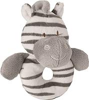 SukiベビーZoomaソフトBoa Plush Rattle赤ちゃんのリングと刺繍アクセント