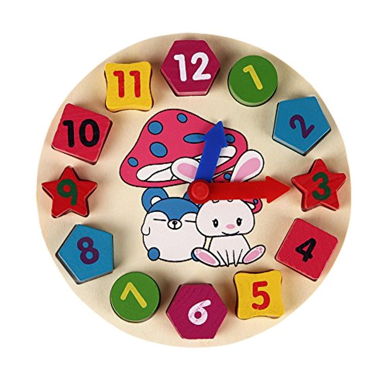 木製12数クロックおもちゃベビーカラフルパズルデジタルジオメトリ時計教育時計おもちゃ