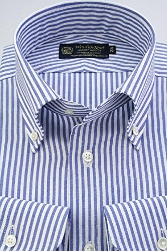 アレンジ非常に驚くばかり(ウィンザーノット アルバートアベニュー) Windsorknot Albert Avenue ボタンダウンカラーシャツ 日本製 綿100% オックス ブルーのロンドンストライプ 100番手双糸 bd4203