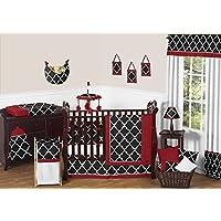 Sweet Jojo Designs 9-Piece Red Black and White Trellis Print Gender Neutral Baby Bedding Boy or Girl Crib Set [並行輸入品]