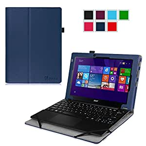 【Fintie】Acer Aspire Switch 10E ( SW3-013 ) 10.1インチ  2in1専用保護ケース 薄型 軽量 内包型 スタンドタイプ キーボードスタンド付き タッチペンホルダー付き 高級PUレザーケースカバー (ネイビー)