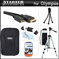 スターターアクセサリーキット オリンパス VR-340 デジタルカメラ用 デラックスハードケース + 50三脚ケース + ミニHDMIケーブル + USB 2.0カードリーダー + LCDスクリーンプロテクター + ミニ卓上三脚 + マイクロファイバークリーニングクロス付き