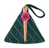 ポーチ 刺し子 三角 カーキ 10×10×9.5 65073578