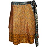 Womens Wrap Around Skirt Printed Recycled Sari Two Layer Reversible Mini Skirts