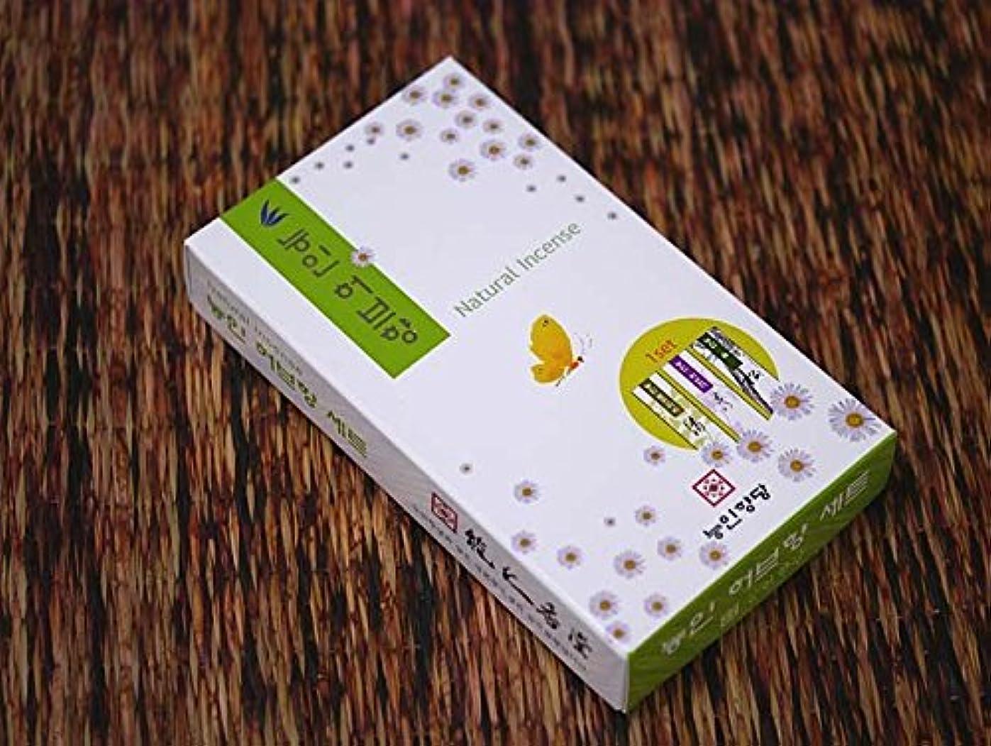 病んでいるエレベーター蒸能仁香堂 韓国香【ナチュラル3種セット お香立て付】能仁香堂
