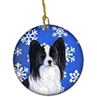 Carolines Treasures SS4643-CO1 Papillon Winter Snowflakes Holiday Christmas Ceramic Ornament