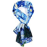 Salutto Women 100% Silk Scarf Van Gogh Monet Famous Painter Painted Scarves