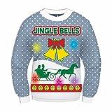 Forum Women's Musical Light Up Jingle Bell Sleigh Ugly Christmas Sweater Blue Medium [並行輸入品]