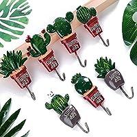 サボテン植物インテリアフック、ハンドメイドノパルサボテン壁フックハンガーコート用バッグPotsキーを、キッチン、バスルーム、リビングルームホーム装飾Cactusフックby underreafパックof 4