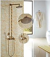 """GOWE 8""""アンティーク真鍮バスルームシャワーセットセラミックW /ハンドシャワー壁マウントRainfall"""