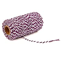 3 ロール クリスマス 2 色 綿糸 - 100M/ロール - diy ハンド メイド 織る タグ 上質 コットン コットンロープベルト ロープ ベルト ハロウィン クリスマス ギフト ラッピングコード (ダークパープル+白)