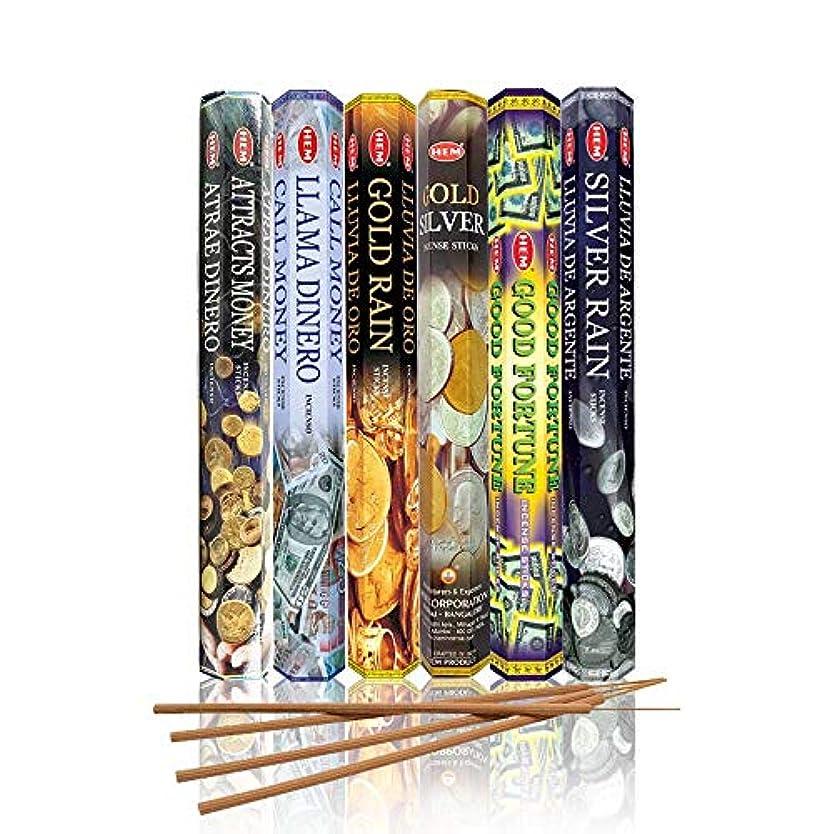 謙虚パイスティーブンソン裾Money Drawing Scentsコレクション/ Assortment – Attracts money、雨コールお金、ゴールド、ゴールドシルバー、Good Fortune、シルバーの雨 – 6 20スティックチューブ、120 Sticks合計