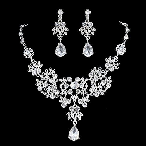 [해외]PINKING 목걸이 귀걸이 2 종 세트 빛나는 웨딩 신부 파티 보석 이벤트 액세서리/PINKING Necklace Earrings 2 Pieces Brilliant Wedding Bride Party Jewelry Events Accessories