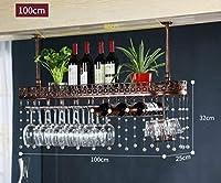 CHRDW ワインラック金属壁掛けワインラックぶら下げカウンターカップホルダーワイングラスゴブレットラック高さ調節可能な30〜60センチ棚用レストラン、バー(クリスタルペンダントを含む) (Color : Brown, Size : 100x25cm)