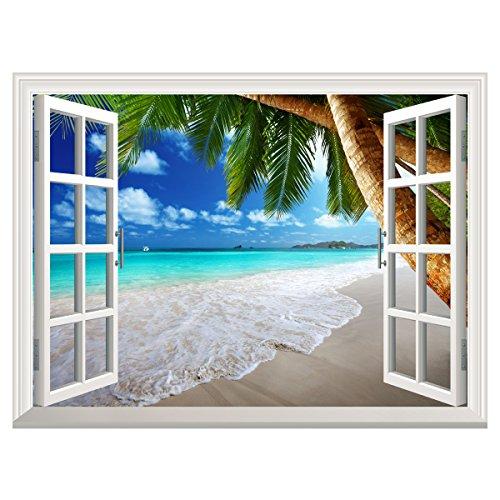 Yesurprise 偽窓ステッカー 海 ビーチ ヤシの木 壁飾り 窓枠 絵 窓の景色 オープンウィンドウ ウォールステッカー 窓ポスター ビニール製 インテリア お風呂のポスター 壁紙 60*80cm