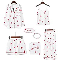 YKZX ルームウェア レディース 可愛いパジャマ パジャマ レディース シルク ルームウェアセット 部屋着 七点セット 上下セット 絹 前開き