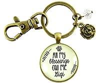 Gigi Keychain All My Blessings Call Me Gigi Grandmother Vintage Style Meaningful Pendant Key Ring [並行輸入品]