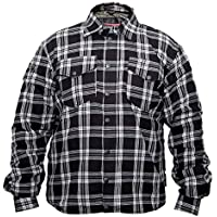 Gentry Choice Motorcycle Riding Men Bikers Flannel Reinforced Shirt Black & White